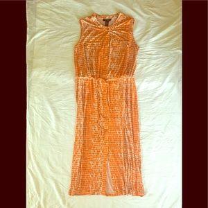 Orange & Off White Button Down Sleeveless Maxi
